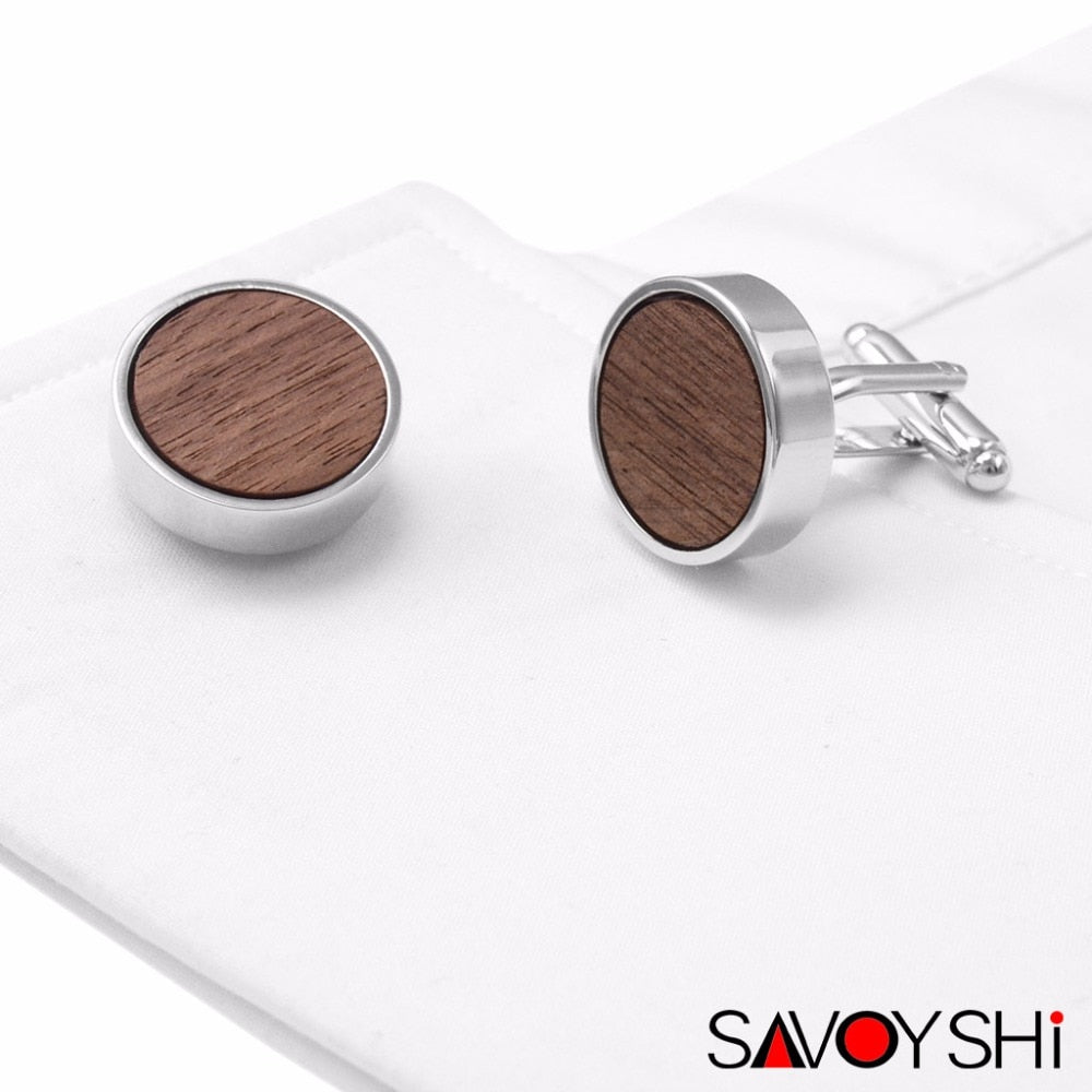 Round Walnut Wood Cufflinks for Men by SAVOYSHI