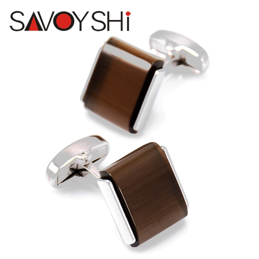 Luxury Brown Stone Cufflinks for Men by SAVOYSHI