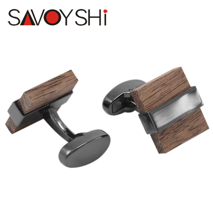 Square Wooden Cufflinks for Men by SAVOYSHI