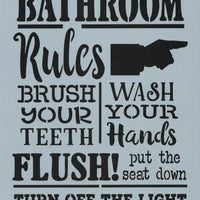 Bathroom Rules Stencil