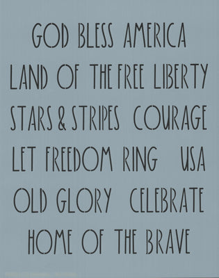 Dunn Inspired Patriotic Words Stencil