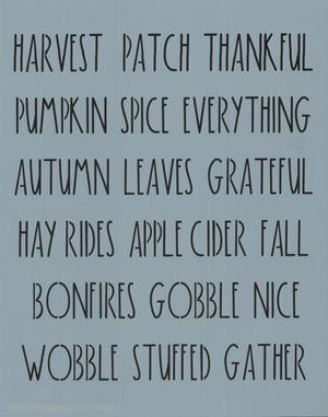 Dunn Inspired Fall Words Stencil