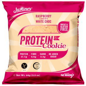 JUSTINES RASBERRY WHITE CHOC PROTEIN COOKIE