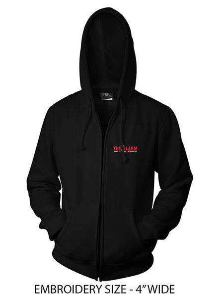 BRAND NEW - THE ALARM - Lightning Logo Zip Hoodie in Black