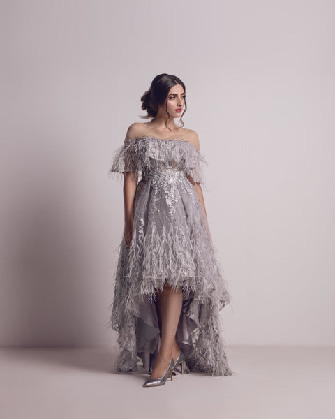 Light Purple Dress Feathered and Crystal Dress