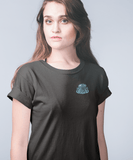 Women Carbon Neutral Black Rolled Sleeve Organic T-Shirt