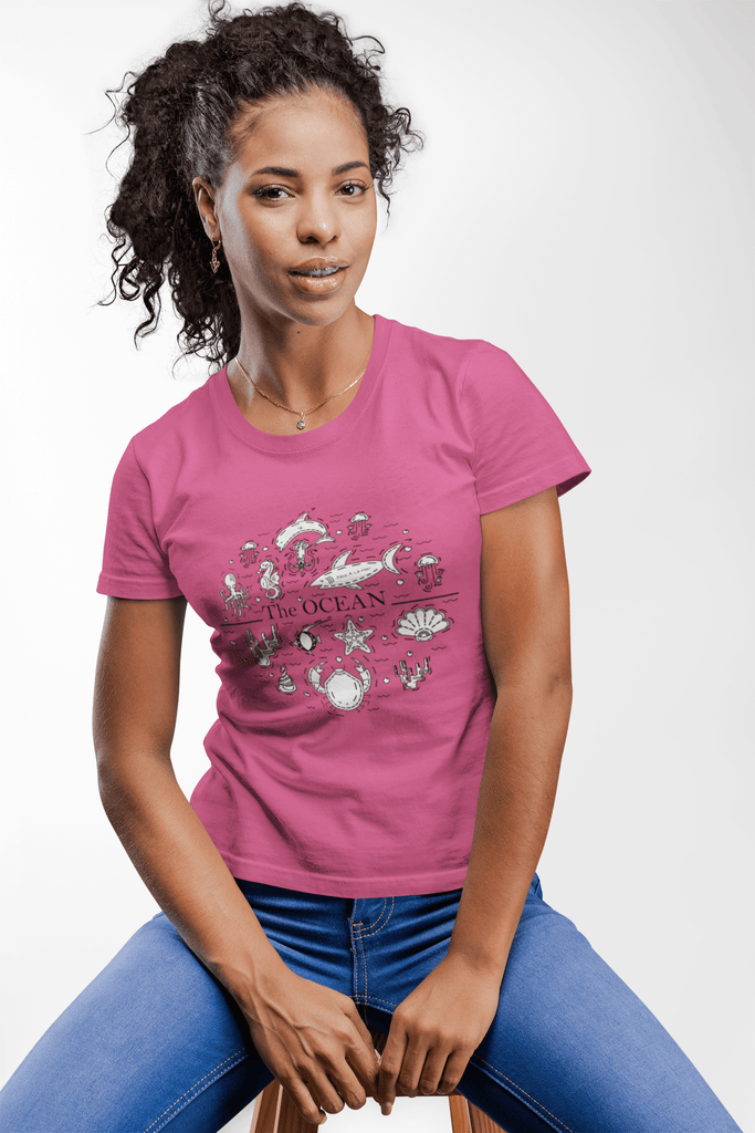 Women Carbon Neutral Hot Pink Organic T-Shirt