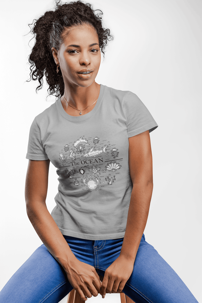 Women Carbon Neutral Melange Grey Organic T-Shirt