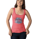 Women Organic Mid Heather Red Fitted Tank Top