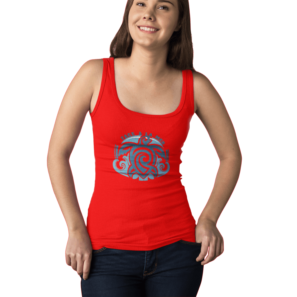 Women Organic Red Fitted Tank Top
