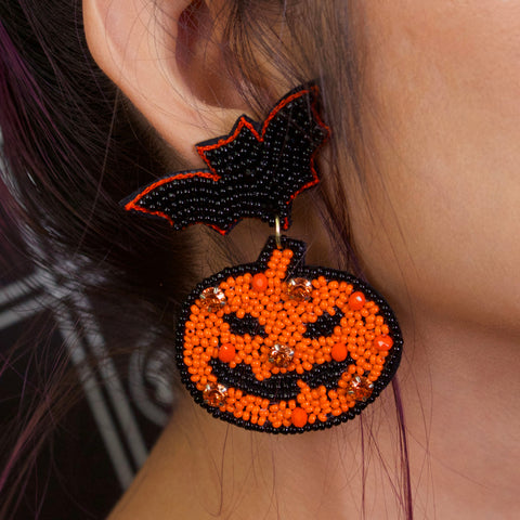 BAT AND JACKS - Beaded Earrings