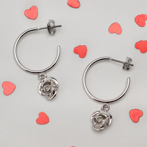 BIRTHDAY ROSES - White Gold Mini Hoops