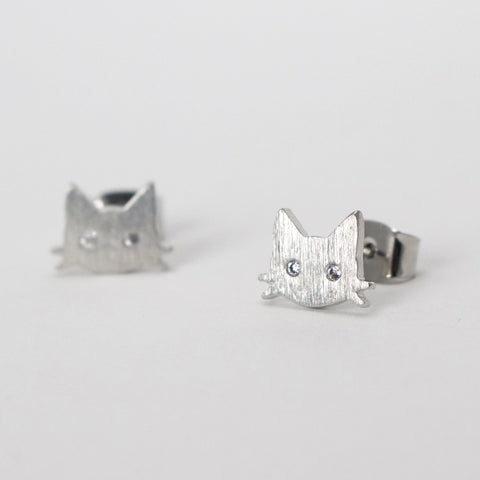 PURRFECTION - White Gold Earrings