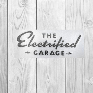 The Electrified Garage Vinyl Transfer Decal - EV Origins
