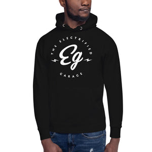 The Electrified Garage White Emblem Unisex Hoodie - EV Origins