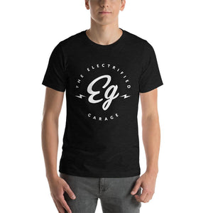 The Electrified Garage White Emblem Short-Sleeve Unisex T-Shirt - EV Origins