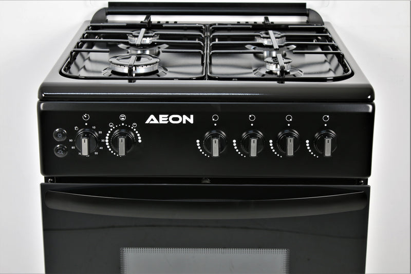 AEON GAS COOKER/60x60/4 GAS/2 BURNER/BLACK HOB/BLACK/EURO POOL