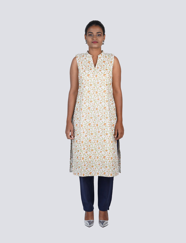 White Cotton Kurta with Orange Floral Print