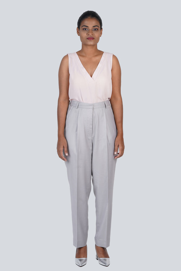 Grey Trouser with Front Pleat Detail