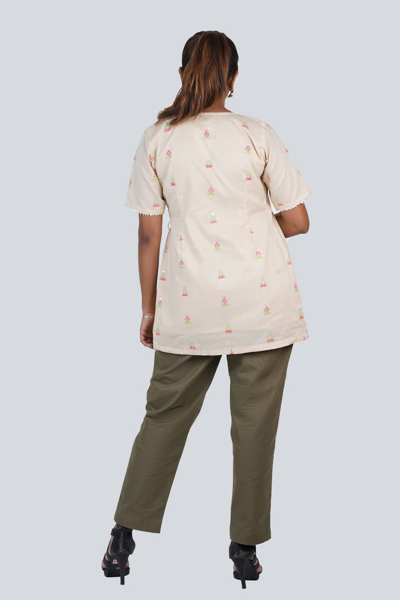 Beige Embroidered Angrakha Kurta with Silver Lace Detail