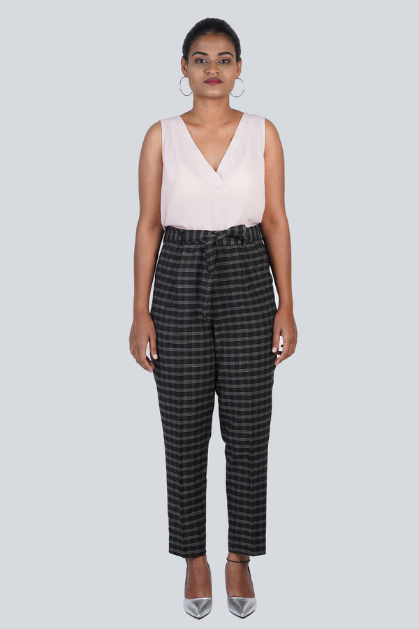Black Checks Trouser With Sash