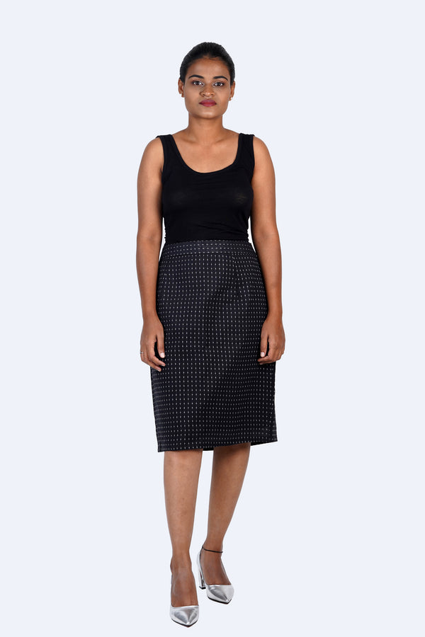 Black Pencil Skirt with Thread-work