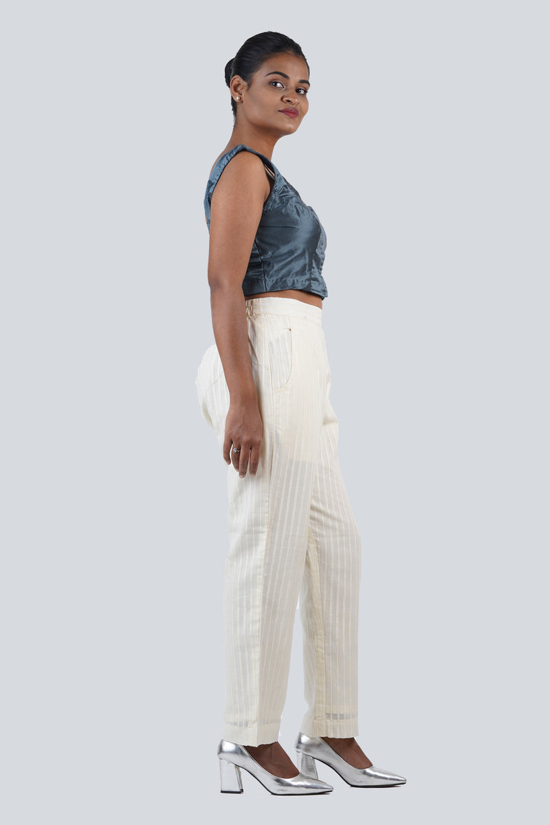 Straight Off-White Pants with Subtle Gold Line Detail