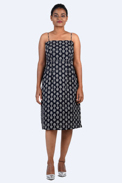 Black Strappy Dress With Motif