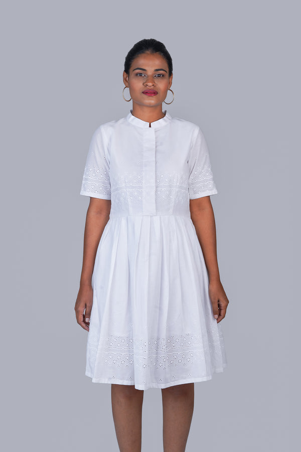 White Schiffli Dress with Mandarin Collar