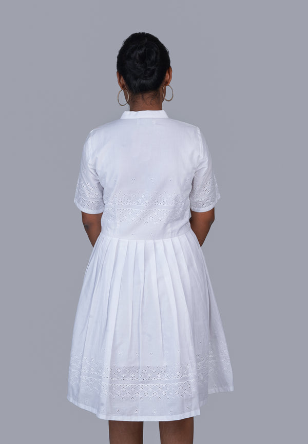 White Schiffli Dress with Mandarin Collarv