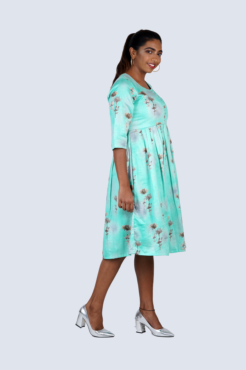 Sea Green Floral Dress with Potli Buttons