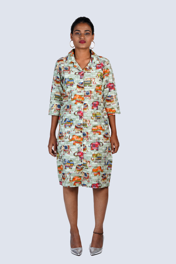 Green Elephant Shirt Dress