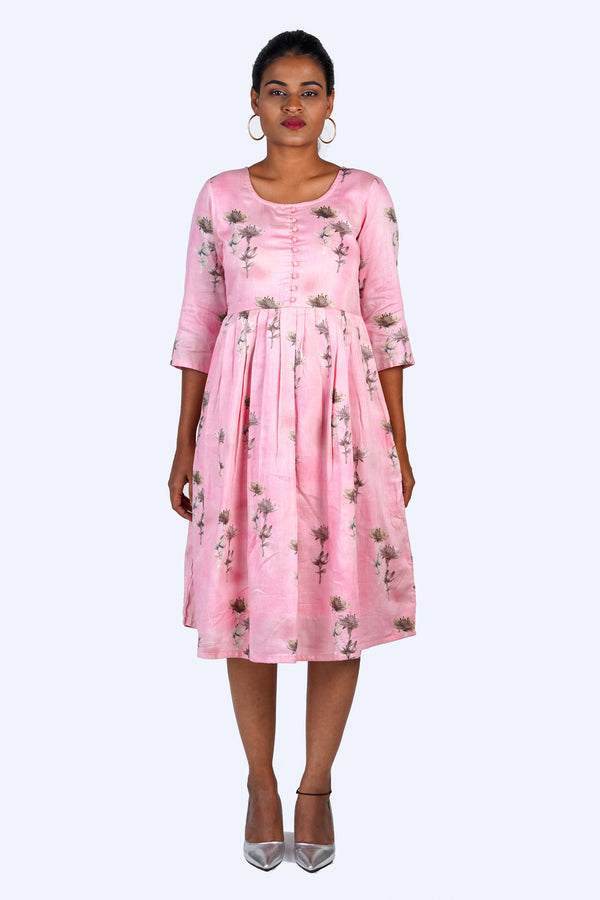 Pink Floral Dress with Potli Buttons