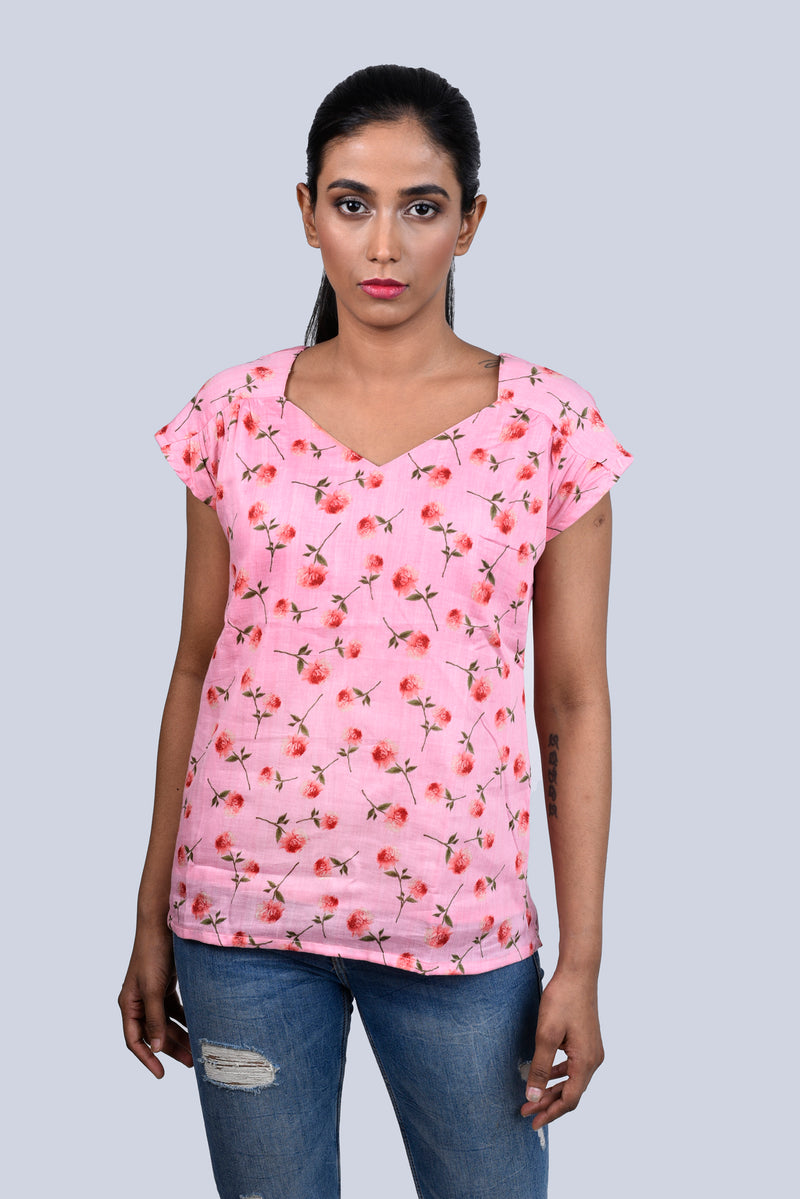 Pink Top with Red Flowers