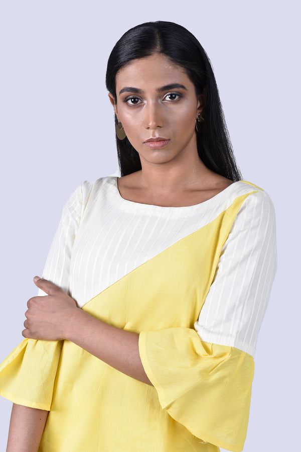 White & Yellow Kurta with Bell Sleeves