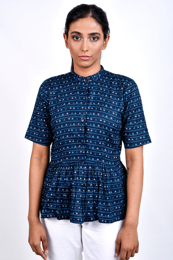 Blue Printed Pleated Top With Mandarin Collar