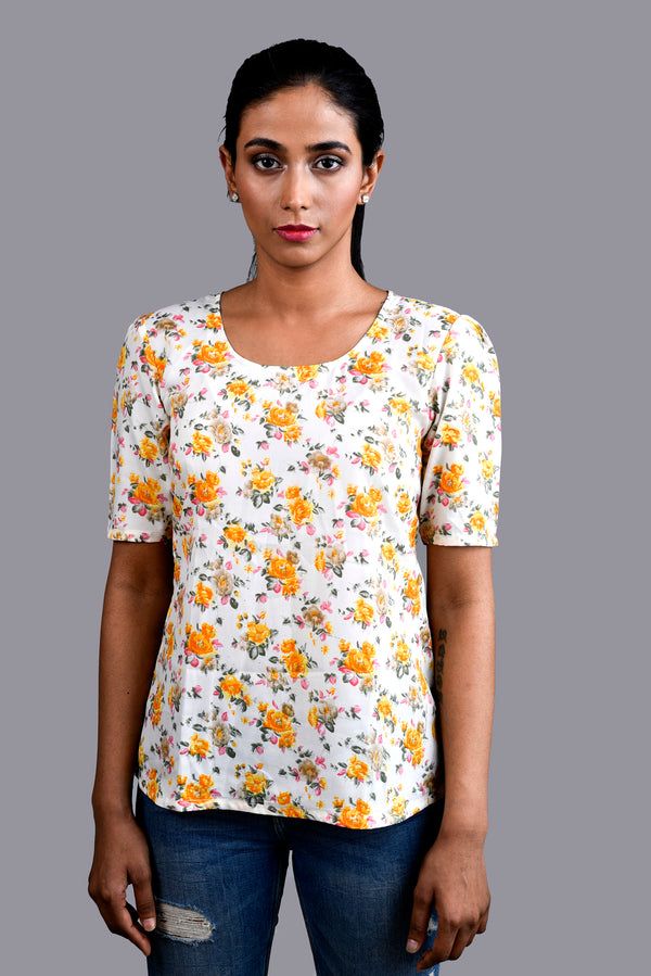 Cream Top with Floral Print