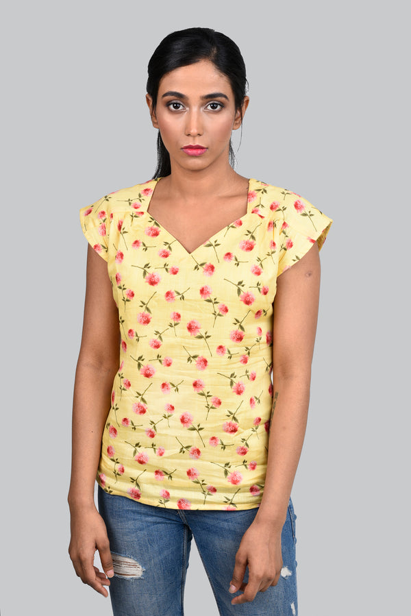 Yellow Top With Red Flowers