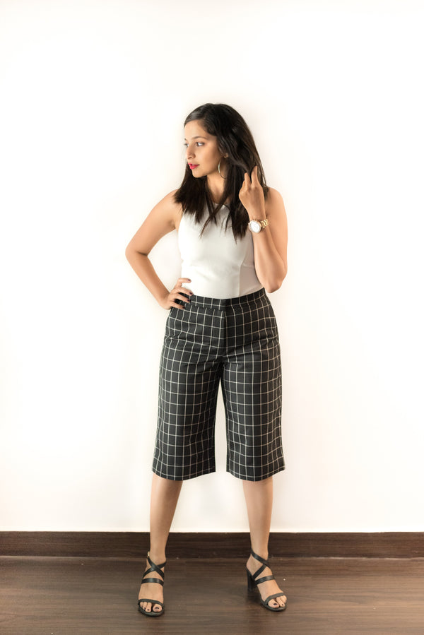 Bottoms - Black & White Box Culottes