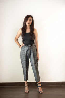 Bottoms - Grey Plaid Trouser