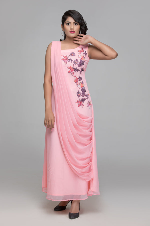 Dress - Ankle Length Cowl Drape Dress