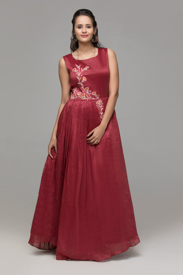 Gown - One Sided Pleated Gown