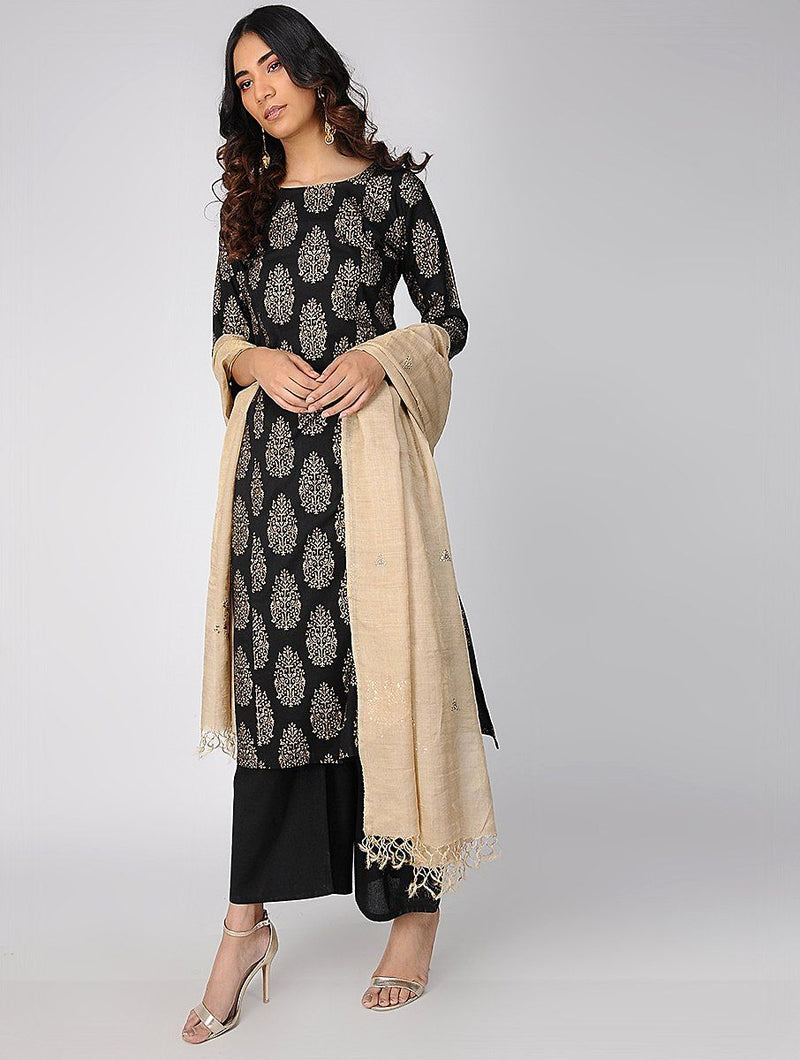 Kurtas - Black & Gold Kurta
