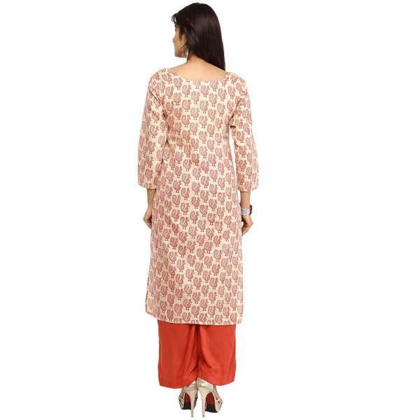 Kurtas - Block Print Kurta (Cream-Orange)