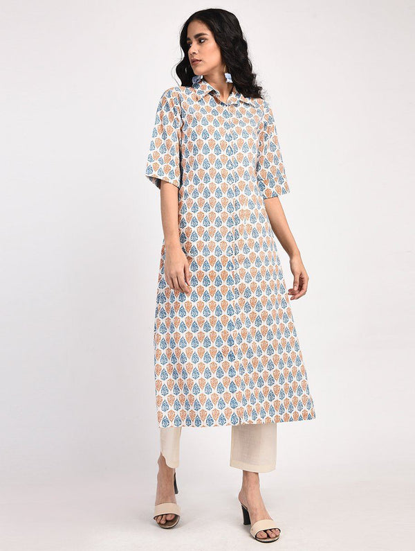 Kurtas - Block Printed Shirt Style Kurta (Cream-Blue-Orange)