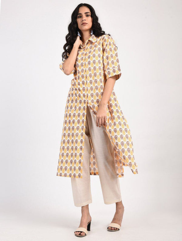 Kurtas - Block Printed Shirt Style Kurta (Cream-Yellow-Brown)