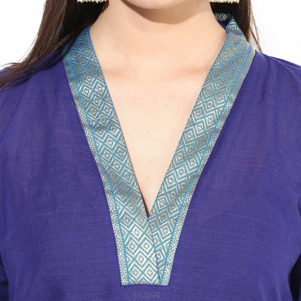 Kurtas - Blue South Cotton Boat Neck Kurta With Side Slits
