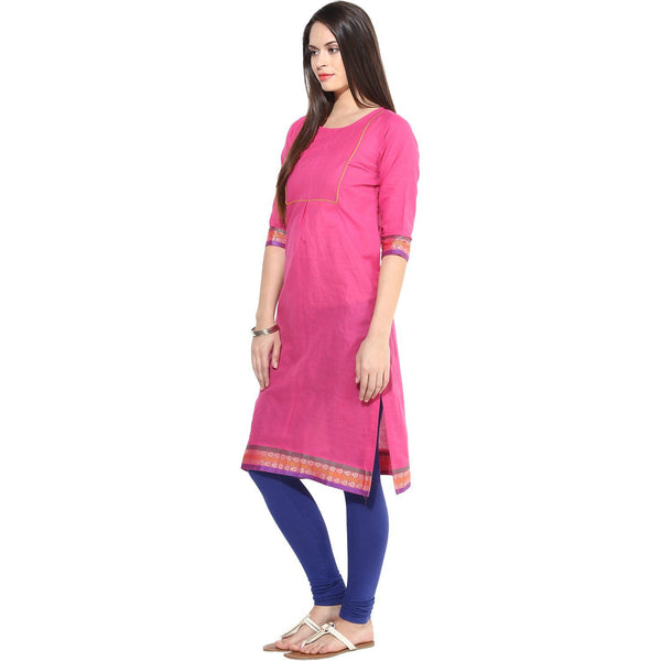 Kurtas - Pink Kurta With Olive, Yellow & Violet Border