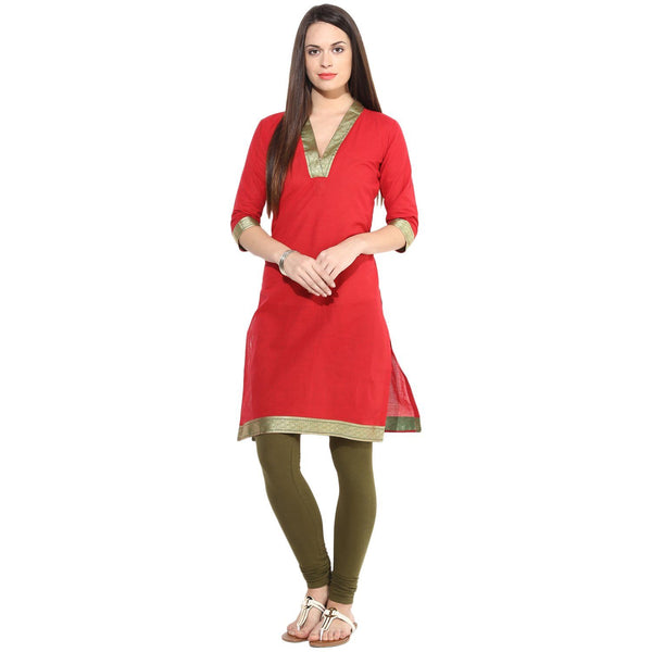 Kurtas - Red Kurta With Golden & Green Border