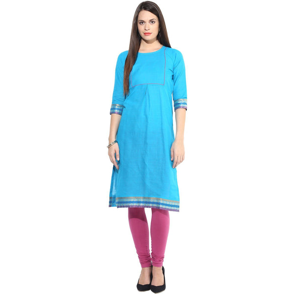Kurtas - Sky Blue Kurta With Blue Golden & Red Border